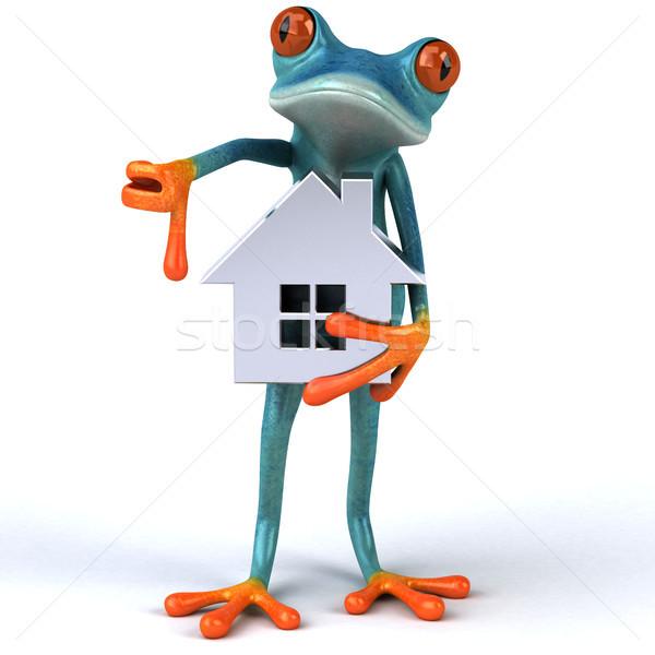 Zabawy żaba 3d ilustracji niebieski nieruchomości środowiska Zdjęcia stock © julientromeur