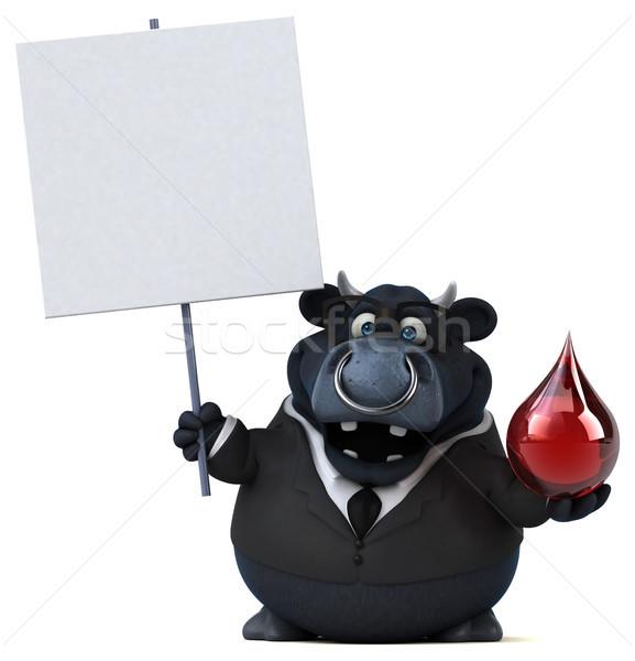 Czarny byka 3d ilustracji działalności krwi biznesmen Zdjęcia stock © julientromeur