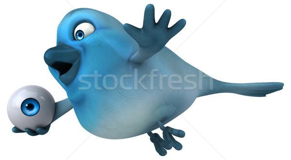 Blauw vogel oog communicatie cartoon sociale Stockfoto © julientromeur