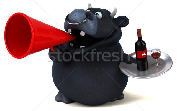 黒 牛 3次元の図 ワイン ドリンク 楽しい ストックフォト © julientromeur