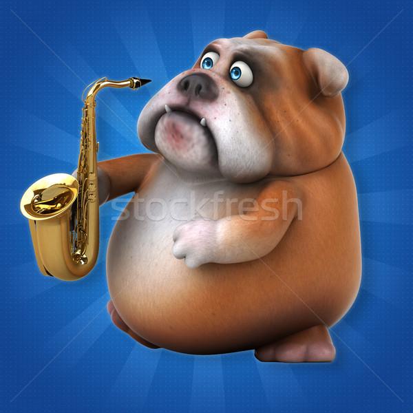 Zabawy bulldog 3d ilustracji psa tłuszczu zespołu Zdjęcia stock © julientromeur