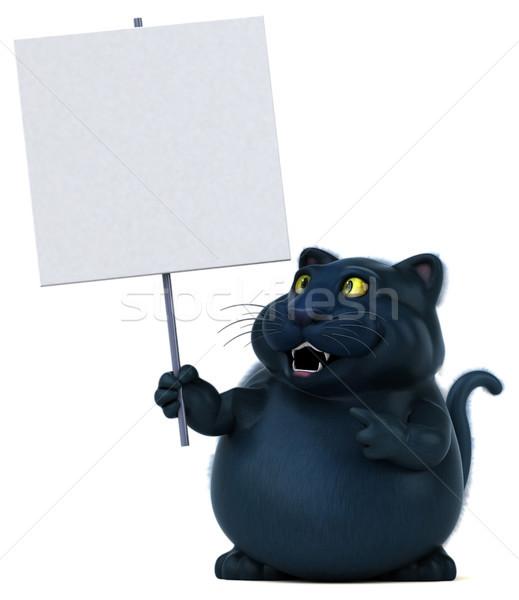 Fekete macska 3d illusztráció macska fekete rajz kiscica Stock fotó © julientromeur