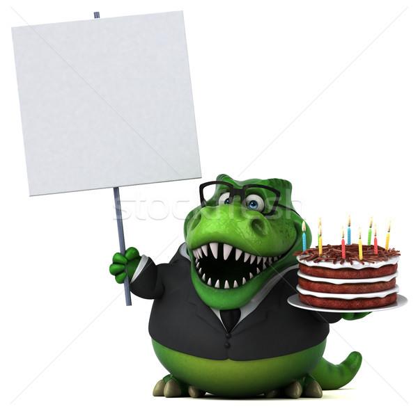 Eğlence 3d illustration doğum günü kek mum dişler Stok fotoğraf © julientromeur