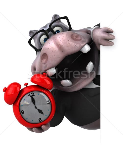 Divertimento ippopotamo illustrazione 3d clock natura imprenditore Foto d'archivio © julientromeur