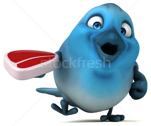 Mavi kuş iletişim karikatür biftek diyet Stok fotoğraf © julientromeur