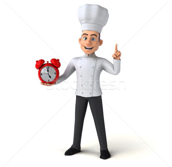 Zabawy kucharz zegar pracy kuchnia biały Zdjęcia stock © julientromeur