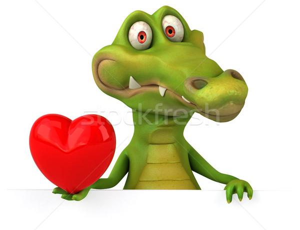 Crocodilo diversão feliz coração projeto arte Foto stock © julientromeur