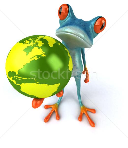 Сток-фото: весело · лягушка · зеленый · планеты · тропические · 3D
