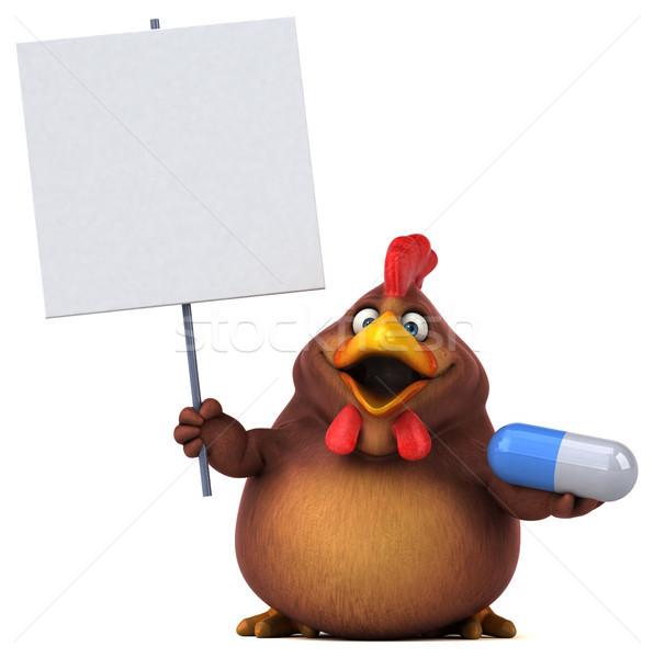 ストックフォト: 楽しい · 鶏 · デザイン · 鳥 · 白 · 動物