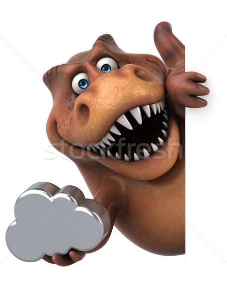 Сток-фото: весело · 3d · иллюстрации · зубов · облаке · животного · история