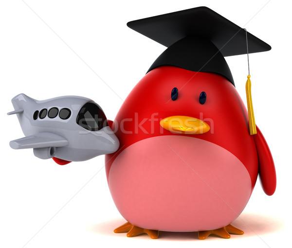 Rood vogel 3d illustration oranje borst reizen Stockfoto © julientromeur