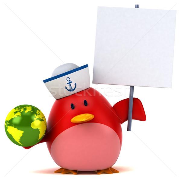 Сток-фото: красный · птица · 3d · иллюстрации · Мир · оранжевый · груди
