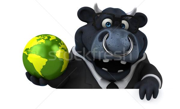 Nero toro illustrazione 3d business mondo imprenditore Foto d'archivio © julientromeur