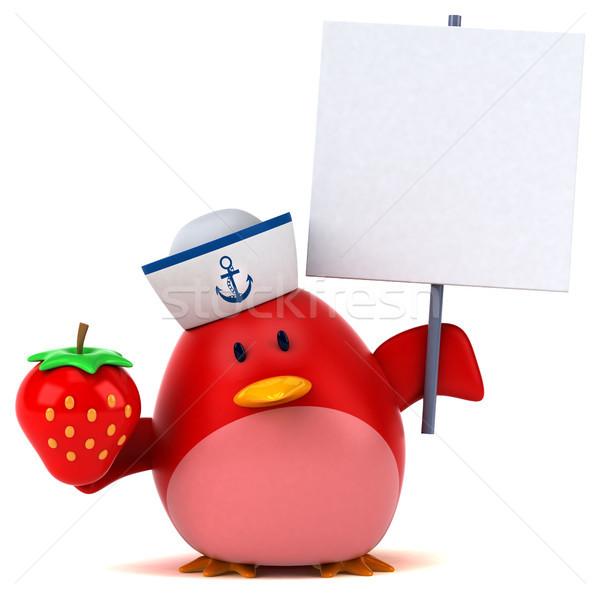 Сток-фото: красный · птица · 3d · иллюстрации · оранжевый · груди · клубника