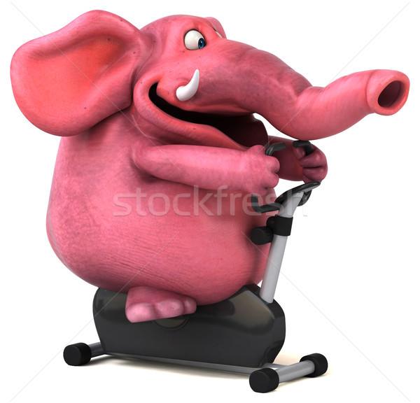 Różowy słoń 3d ilustracji siłowni rower dżungli Zdjęcia stock © julientromeur