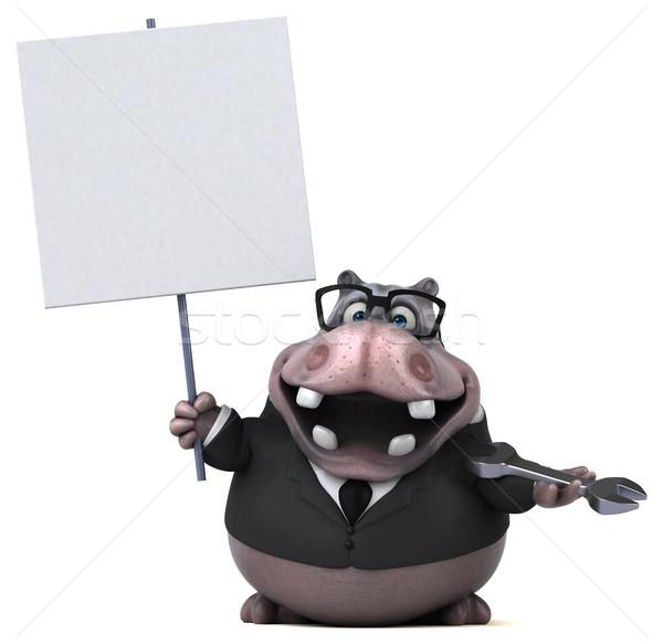 весело гиппопотам 3d иллюстрации природы бизнесмен костюм Сток-фото © julientromeur