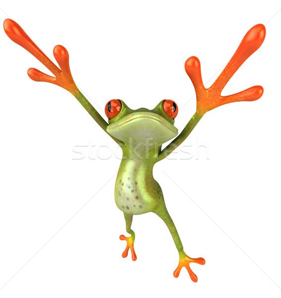 Сток-фото: весело · лягушка · зеленый · среде · 3D