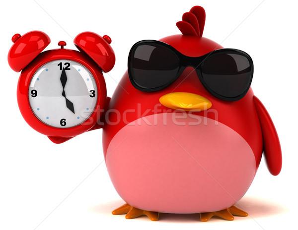 Сток-фото: красный · птица · 3d · иллюстрации · часы · оранжевый · груди