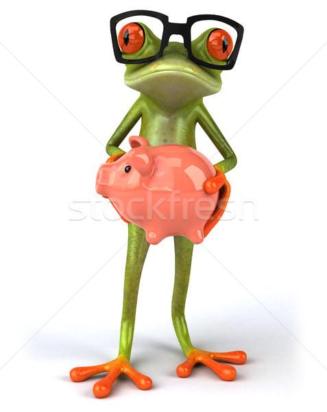 Leuk kikker geld groene tropische spaarvarken Stockfoto © julientromeur