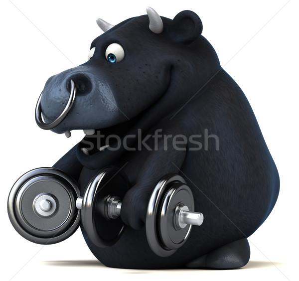 Fun black bull - 3D Illustration Stock photo © julientromeur