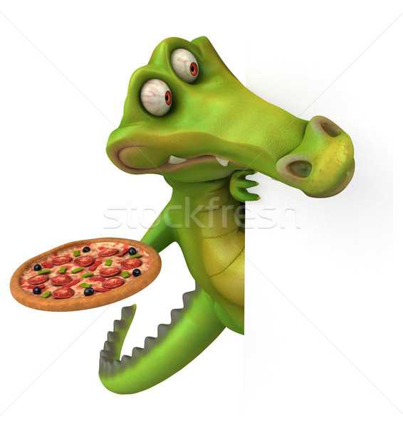 Krokodil eğlence mutlu pizza dizayn sanat Stok fotoğraf © julientromeur