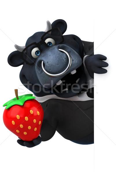 черный бык 3d иллюстрации трава костюм фермы Сток-фото © julientromeur