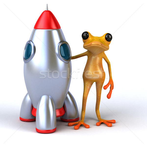 Jókedv béka 3d illusztráció rakéta környezet illusztráció Stock fotó © julientromeur