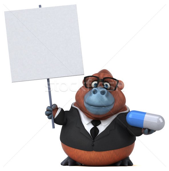 Eğlence 3d illustration iş doğa işadamı maymun Stok fotoğraf © julientromeur