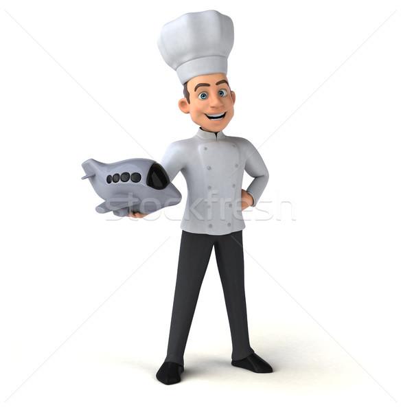 Jókedv szakács konyha utazás fehér főzés Stock fotó © julientromeur