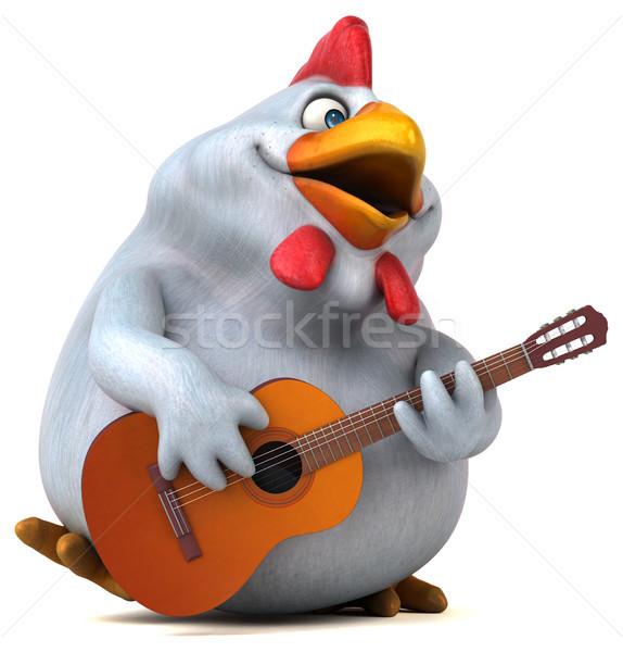Zabawy kurczaka 3d ilustracji gitara projektu ptaków Zdjęcia stock © julientromeur