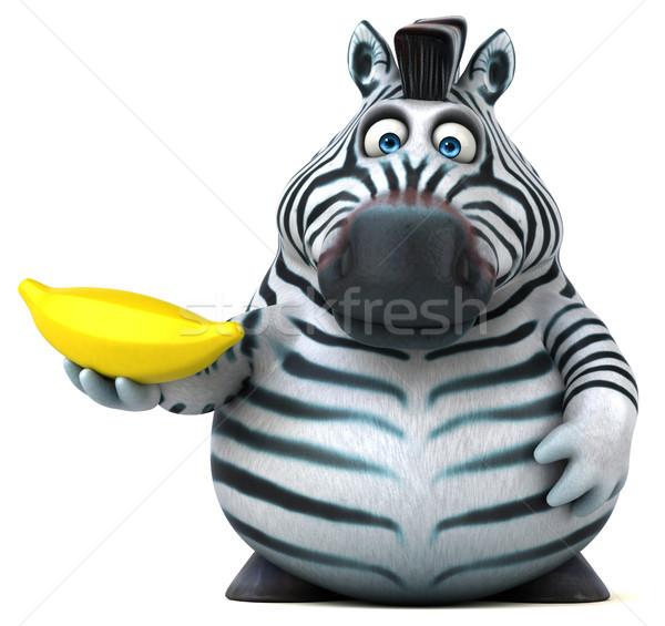 весело зебры 3d иллюстрации Африка банан животного Сток-фото © julientromeur