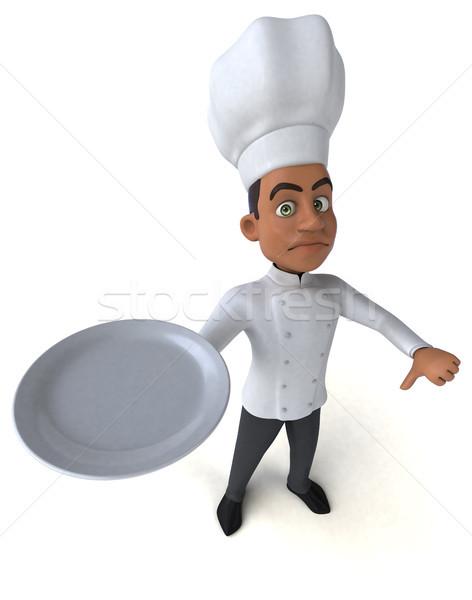 Jókedv szakács étterem tányér fekete állás Stock fotó © julientromeur