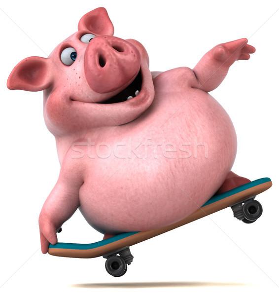 весело свинья 3d иллюстрации фермы Skate животного Сток-фото © julientromeur