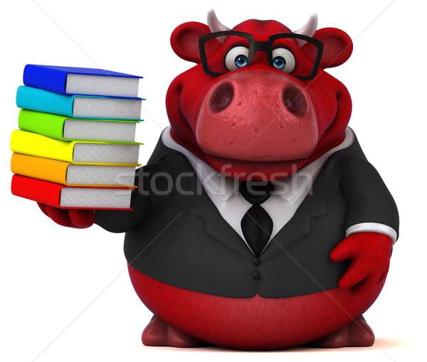 Piros bika 3d illusztráció könyvek haj tehén Stock fotó © julientromeur