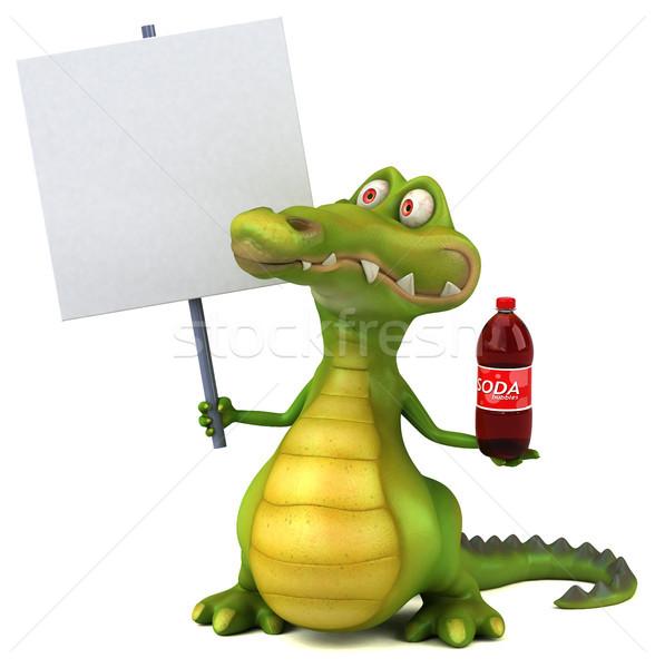 Krokodil eğlence mutlu dizayn sanat içmek Stok fotoğraf © julientromeur