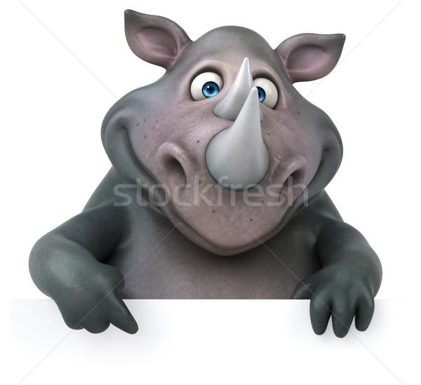 Foto stock: Diversão · rinoceronte · ilustração · 3d · gordura · animal · indiano