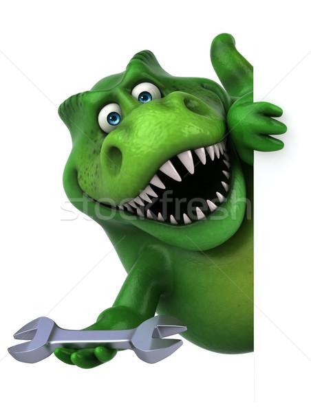 Сток-фото: весело · динозавр · 3d · иллюстрации · работник · зубов · животного