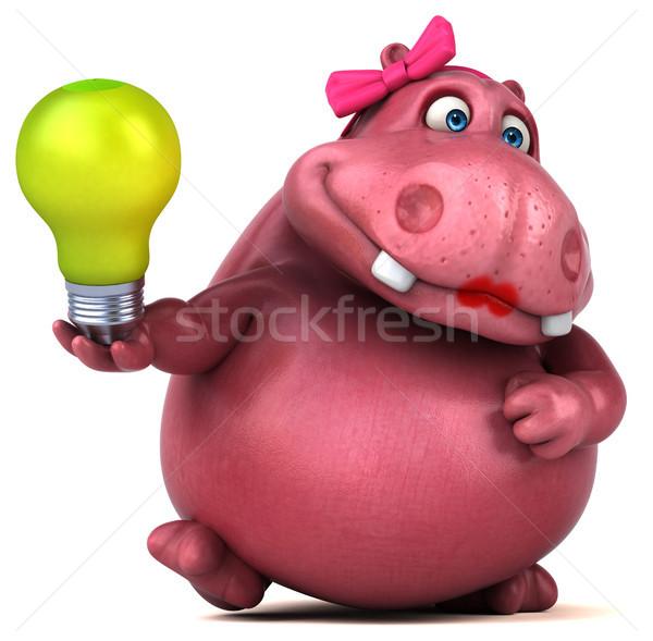 ピンク カバ 3次元の図 緑 楽しい 脂肪 ストックフォト © julientromeur