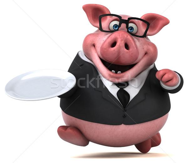 Stok fotoğraf: Eğlence · domuz · 3d · illustration · gıda · işadamı · takım · elbise
