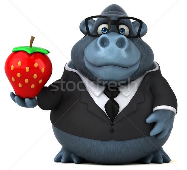 Stok fotoğraf: Eğlence · goril · 3d · illustration · meyve · gözlük · takım · elbise