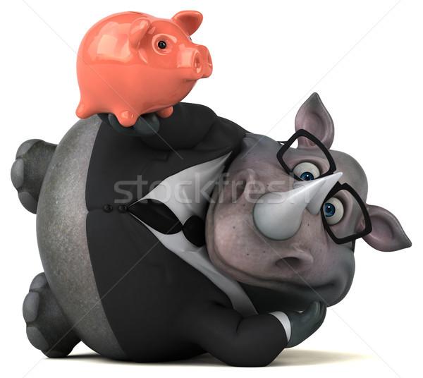 Zabawy nosorożec 3d ilustracji biznesmen garnitur finansów Zdjęcia stock © julientromeur