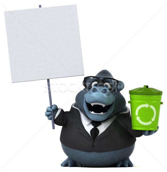 Leuk gorilla 3d illustration pak prullenbak dier Stockfoto © julientromeur