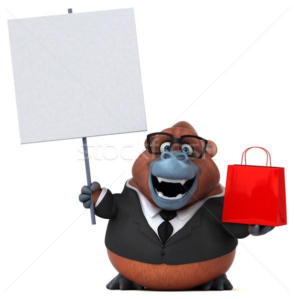 Stok fotoğraf: Eğlence · 3d · illustration · doğa · işadamı · maymun · komik