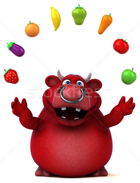 Czerwony byka 3d ilustracji charakter włosy krowy Zdjęcia stock © julientromeur