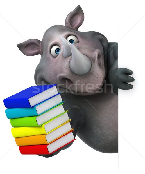 ストックフォト: 楽しい · サイ · 3次元の図 · 図書 · 脂肪 · 動物