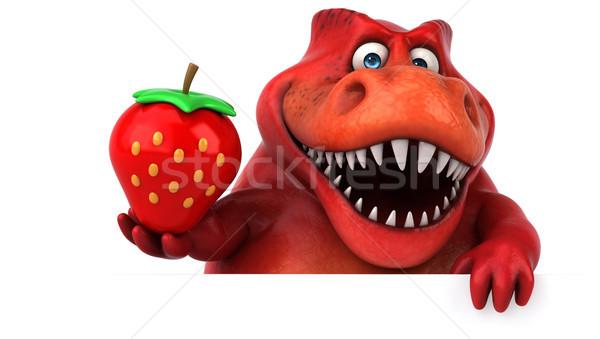 Foto stock: Diversão · dinossauro · ilustração · 3d · morango · dentes · animal
