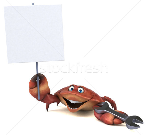 Zabawy Krab 3d ilustracji pracy charakter obiedzie Zdjęcia stock © julientromeur