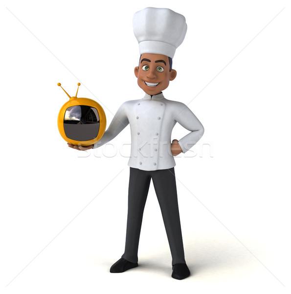 Eğlence şef mutfak ekran beyaz pişirme Stok fotoğraf © julientromeur