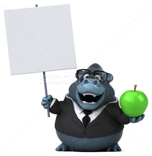 Jókedv gorilla 3d illusztráció alma üzletember öltöny Stock fotó © julientromeur
