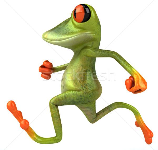ストックフォト: カエル · を実行して · 自然 · 緑 · 動物 · 環境